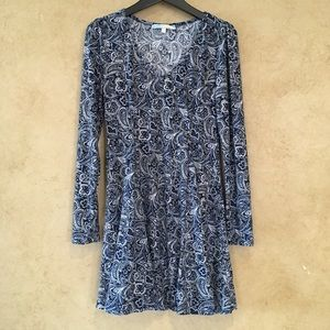 Cecico Dress Boho Chic Paisley Blue White Stretch